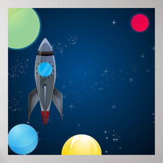 Weltraum-Rocket-Geburtstag/Party-Foto-Hintergrund Poster