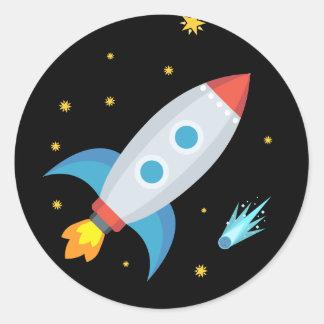 Weltraumrakete Emoji Runder Aufkleber