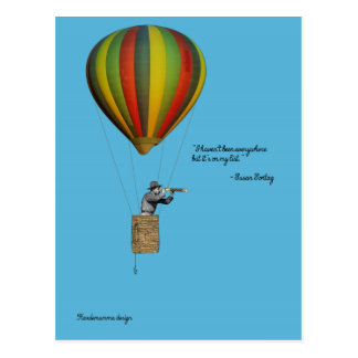 Weltreisendkarte mit Heißluftballon Postkarte