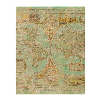 Welts-Karte Holzwanddeko