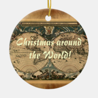 Welts-Karten-Weihnachtsverzierung Rundes Keramik Ornament