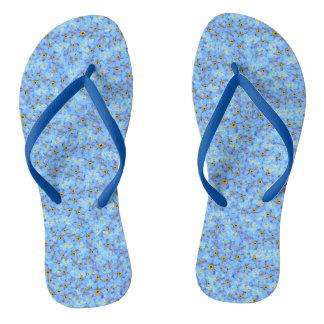 Wenig blaue und gelbe Blumen Flip Flops