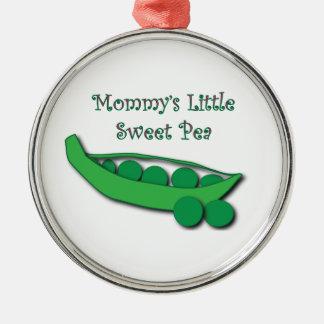 Wenig die süße Erbsen-Verzierung der Mama Silbernes Ornament