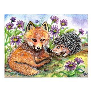 Wenig Fox und Igel Postkarte