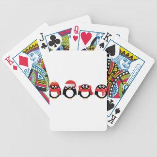 Wenig handgemaltes Pinguinschwarzrot Bicycle Spielkarten