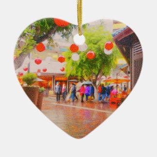 Wenig japanische Dorf Tokyos Malerei Keramik Herz-Ornament