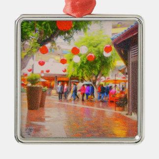 Wenig japanische Dorf Tokyos Malerei Silbernes Ornament