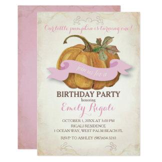 Wenig Kürbis-Geburtstags-Party Einladung - Mädchen