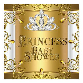 Wenig Mädchen-Goldweiß Prinzessin-Babyparty Quadratische 13,3 Cm Einladungskarte