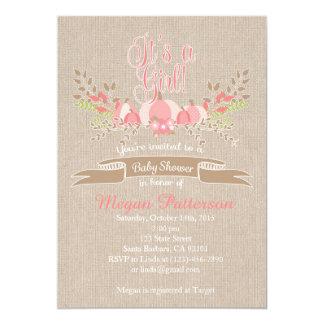 Wenig rosa Kürbis-Babyparty-Einladungs-Leinwand 12,7 X 17,8 Cm Einladungskarte