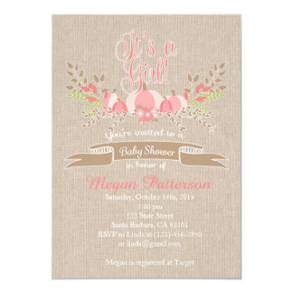 Wenig rosa Kürbis-Babyparty-Einladungs-Leinwand Karte