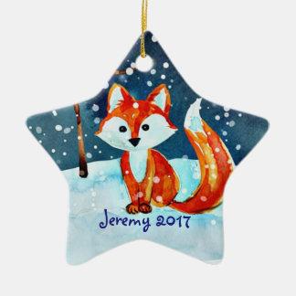 Wenig roter Fox im Schnee Keramik Stern-Ornament