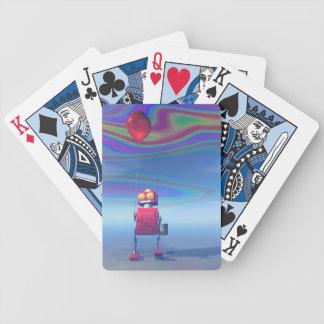 Wenig roter Geburtstags-Roboter 2 Pokerkarten