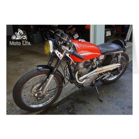 Wenig rotes Motorrad, bis zum Moto Leben Grußkarte