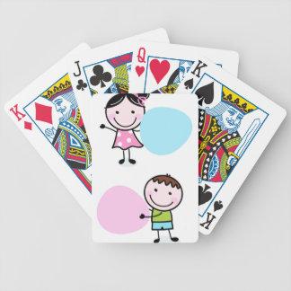 Wenige Gekritzel Kinder - Junge mit Mädchen Bicycle Spielkarten