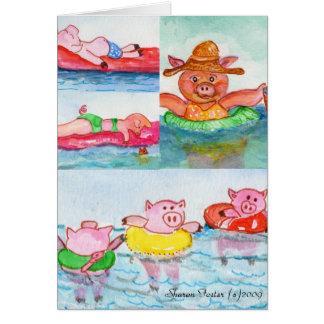 Wenn Ferkel schwimmen - Schwimmen-Schweine Karte