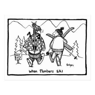 wenn Klempner Ski fahren Postkarte