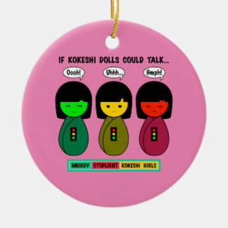 Wenn Kokeshi Puppen sprechen konnten Keramik Ornament