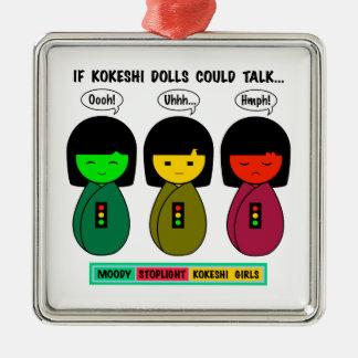 Wenn Kokeshi Puppen sprechen konnten Silbernes Ornament