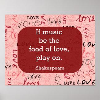 Wenn Musik das Nahrungshakespeare-Zitat - Poster