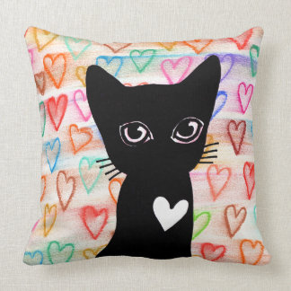 Wenn Sie schwarze Katzen der Liebe - Herzen für Zierkissen