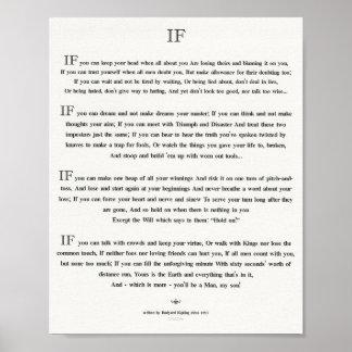 WENN Zitat durch Rudyard Kipling 1895 auf weißem Poster