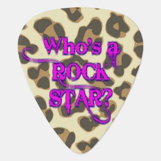 Wer ist ein Rockstar? Ich bin. - Leopard-Rosa Gitarren-Pick