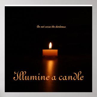 Wert-Plakat Papier-Erhellen eine Kerze Poster