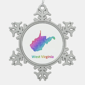 West Virginia Schneeflocken Zinn-Ornament