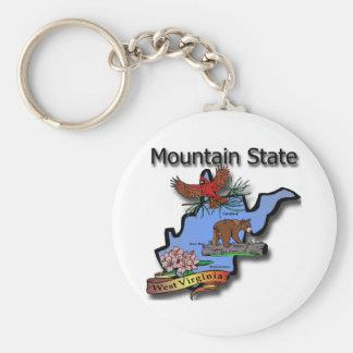 West- VirginiagebirgsStaats-Kardinals-Bär Rhodode Standard Runder Schlüsselanhänger