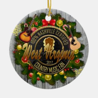 West- Virginialand-Musikfan-Weihnachtsverzierung Keramik Ornament