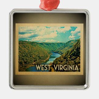 West- Virginiaverzierungs-Vintage Reise Silbernes Ornament
