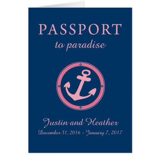 Western-karibisches Kreuzfahrt-Pass-Rosa und Mitteilungskarte