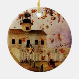 Western-Land-Kirchen-Kapellen-Fall-Herbst-Blätter Rundes Keramik Ornament