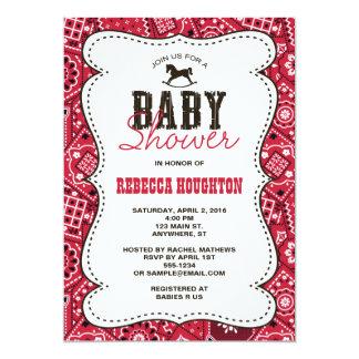 Western-rote Bandanna-Baby-Duschen-Einladung Karte