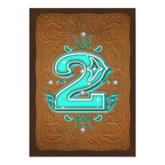 Western rustikales Brown u. des Türkis-ZWEI 2. 12,7 X 17,8 Cm Einladungskarte