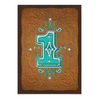 Western rustikales Brown u. Türkis 1 ein 1. Party 12,7 X 17,8 Cm Einladungskarte