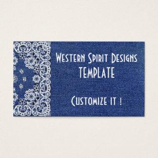 Westernart dunkelblaue Denim-Geschäfts-Karten Visitenkarte