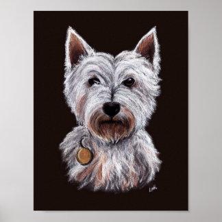 Westhochland-Terrier-Hundepastell-Illustration Poster