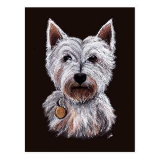 Westhochland-Terrier-Hundepastell-Illustration Postkarte