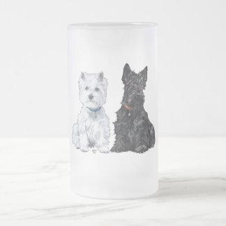 Westhochland-weiße u. schottische Terrier Matte Glastasse