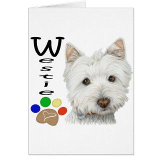 Westie Hundetatzen-Druck-Kunst-Entwurf Karte