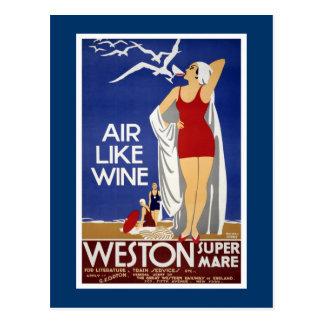 Weston-Super-Stute Vintages Reise-Plakat Postkarte