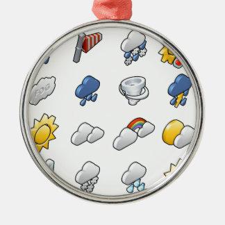 Wetter-Ikonen-Set Rundes Silberfarbenes Ornament