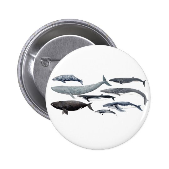 Whales and right whales runder button 5,1 cm