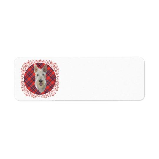 Wheaten Scottish Terrier auf Tartan Rücksendeetikett