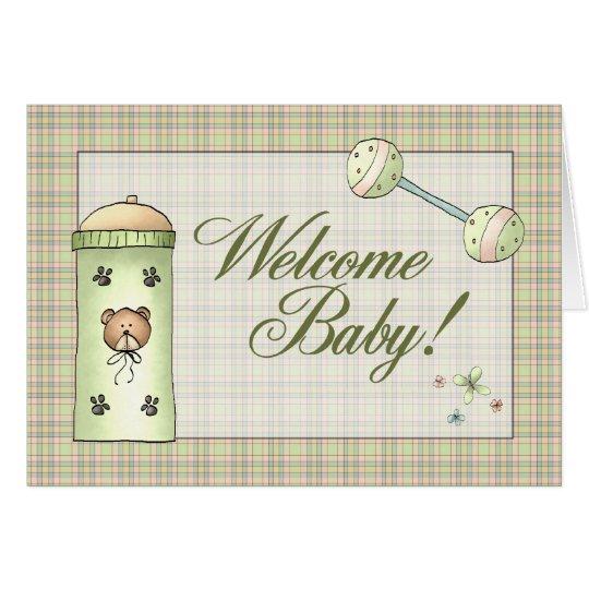 Whimical kariertes willkommenes Baby Grußkarte