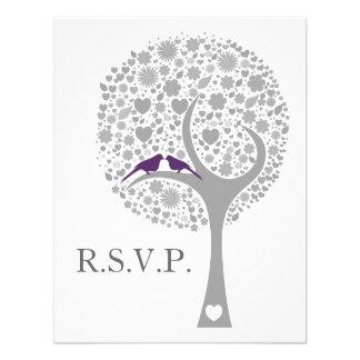 whimsy Baum lila Lovebirds-Mod-Hochzeits-uAwg Personalisierte Einladungskarte