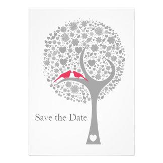 whimsy Baumrosa Lovebirds-Mod Save the Date Individuelle Einladungskarte