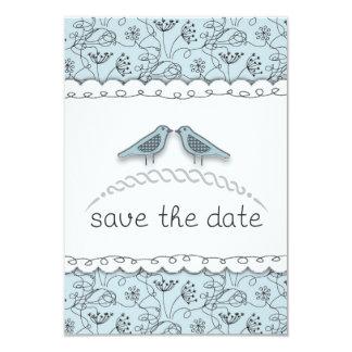 Whimsy Boho blaues Vogel-Save the Date Karte